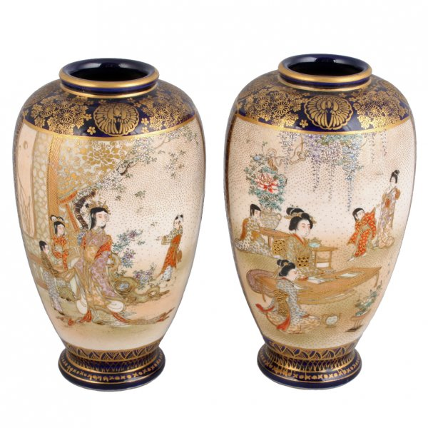 Satsuma Pottery Vases Antique Japanese Vases Antique Satsuma Vases