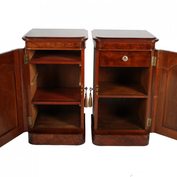 Pair Of Victorian Burr Walnut Bedside Cabinets