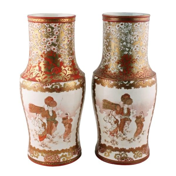 Antique Japanese Vases Pair Of Kutani Vases