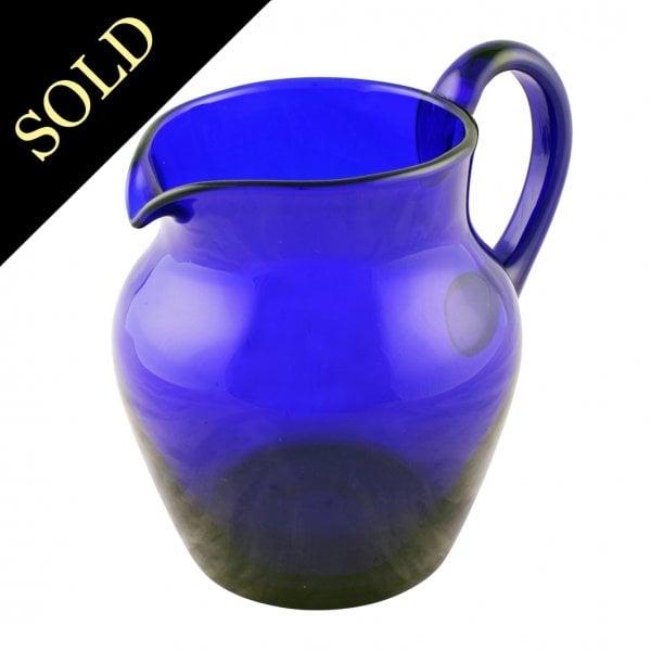 Bristol Blue Glass Jug Antique Blue Glass Jug