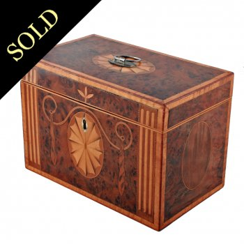 18th Century Yew Wood Veneered Tea Caddy