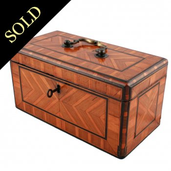 George II Laburnum Veneered Tea Caddy