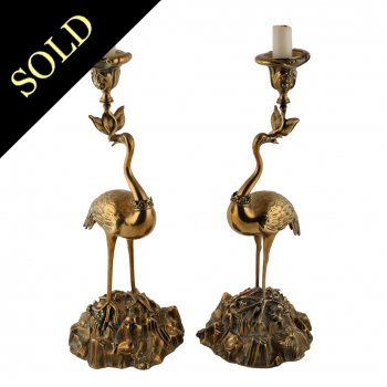 Pair of 'Abbott Brothers' Crane Candlesticks