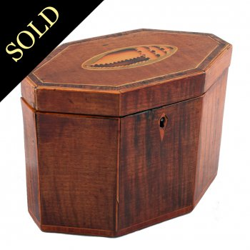 Georgian Fiddleback Mahogany Tea Caddy