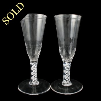 Pair of Opaque Twist Ale Glasses