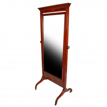 Edwardian Inlaid Cheval Mirror