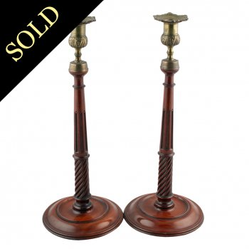 Pair of 19th Century Mahogany Candlesticks