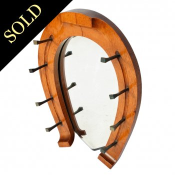 Edwardian Oak Horse Shoe Mirror