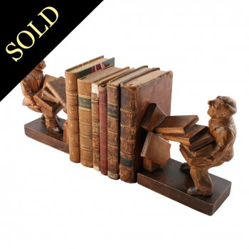 Pair of Carved Wood Bookends