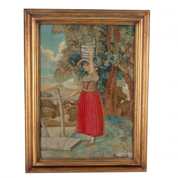 Framed Silk & Wool Work Picture SOLD