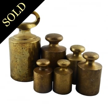 Set of Six Victorian Brass Weights
