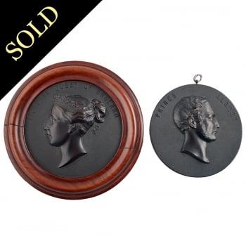 Bois Durci Medallions of Queen Victoria & Prince Albert