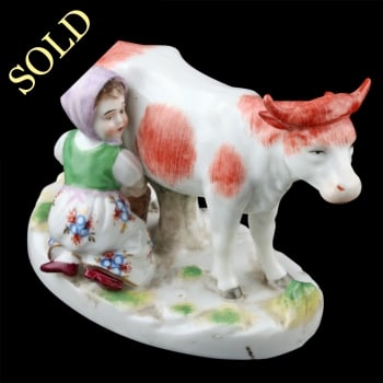 Continental Porcelain Cow & Milkmaid
