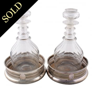 Pair of Silver Plated Bottle Coasters