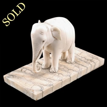 19th Century Carved Ivory Elephant