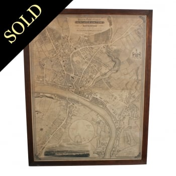 Large Early 19th Century Map of Newcastle upon Tyne