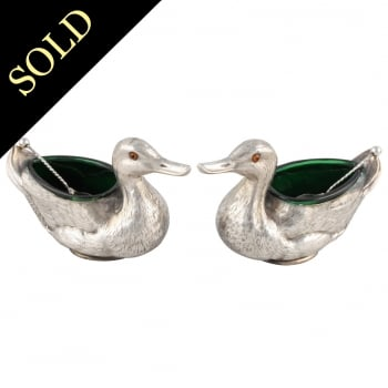 Pair of Sterling Silver Duck Shaped Salts