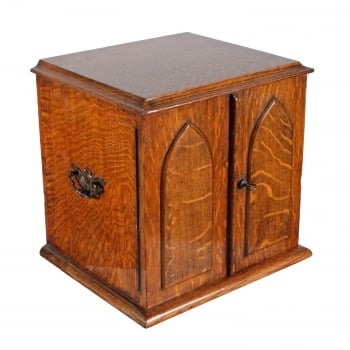 Victorian Oak Collector's Cabinet