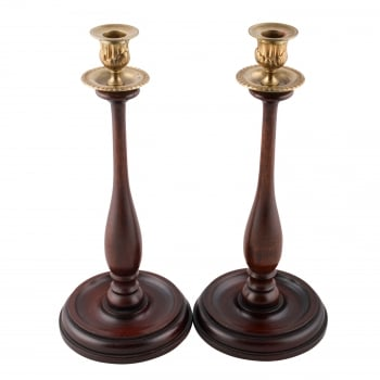 Pair of Mahogany Candlesticks