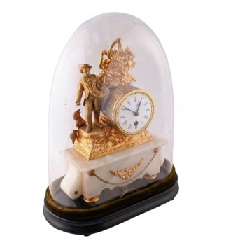 Gilt Metal and Alabaster Mantel Clock