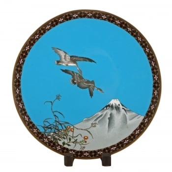 Japanese Cloisonné Enamel Plaque