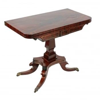 Regency Brass Inlaid Mahogany Card Table