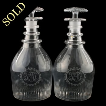 Pair of Regency Glass Decanters