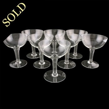 Eight Hollow Stem Champagne Glasses