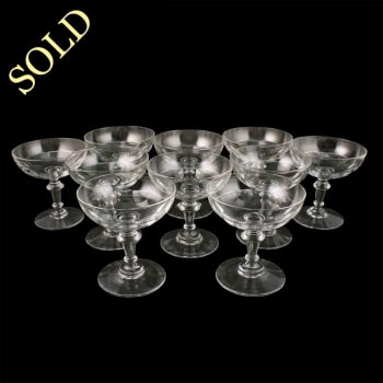 Set of Ten French Champagne Glasses