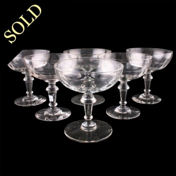 Six French Champagne Glasses