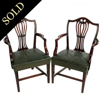 Pair of Georgian Hepplewhite Arm Chairs