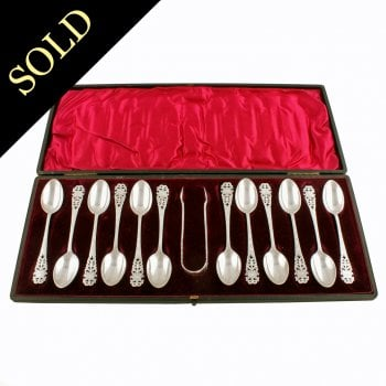 Set of 12 Sterling Silver Tea Spoons & Tongs