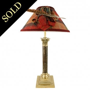 Edwardian Brass & Glass Table Lamp