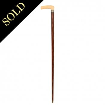 Mahogany & Bone Walking Stick