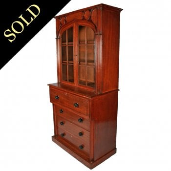 George IV Gothic Style Secretaire Bookcase