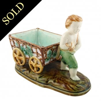 Victorian Majolica Boy & Grape Cart