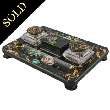 Victorian Black Lacquered Inkwell Stand