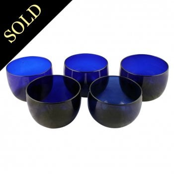 5 Bristol Blue Glass Finger Bowls