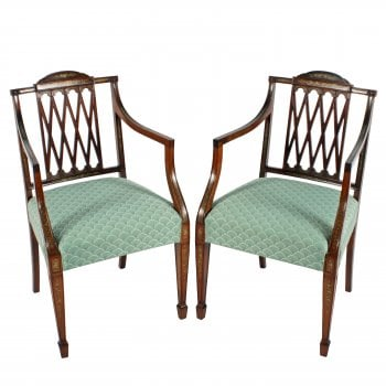 Pair of Hepplewhite Style Elbow Chairs