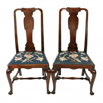 Pair of Queen Ann Black Walnut Chairs