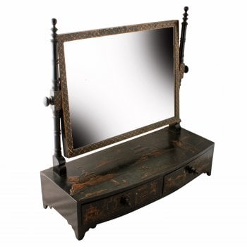 Regency Black Lacquered Dressing Mirror
