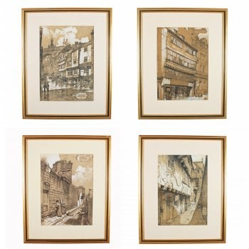 Four Lithograph Prints of Newcastle SOLD