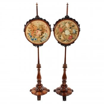 Pair of William IV Rosewood Pole Screens SOLD