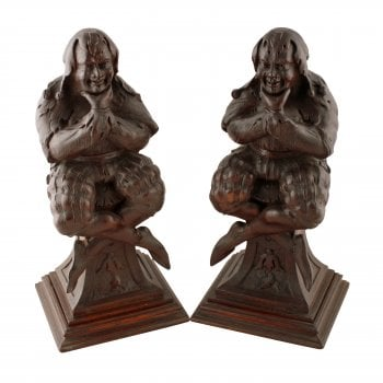 Pair of Carved Wood Jester Figures