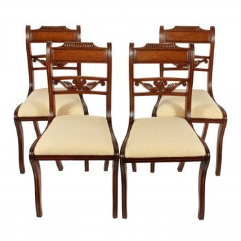 Four Regency Mahogany Sabre Leg Chairs
