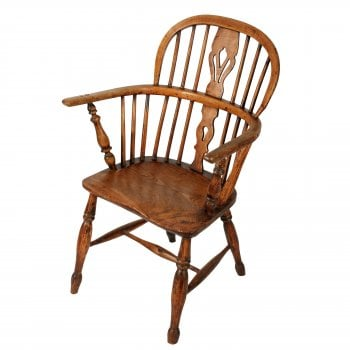 Rustic Elm Windsor Arm Chair