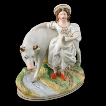 Victorian Staffordshire Cow & Dairy Maid