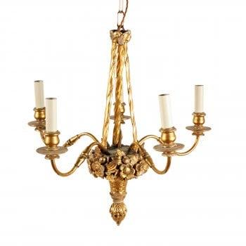 Carved Wood & Gilt Brass Chandelier