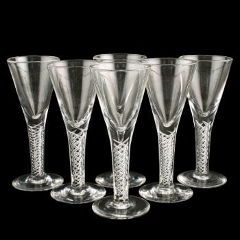 Six 18th Century Style Air Twist Glasses
