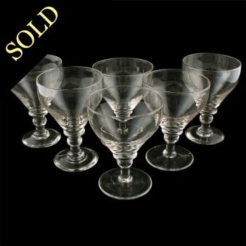 Six Georgian Pan Top Wine Glasses